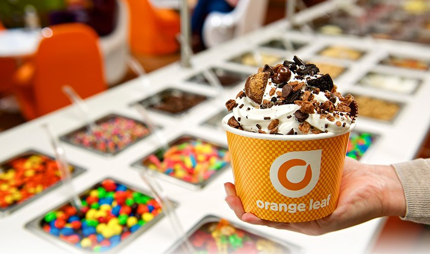 Orange leaf verrado frozen yogurt flavors along with no sugar added and lactose free alternatives customized with a generous selection of 36 do it yourself toppings solutioingenieria Images